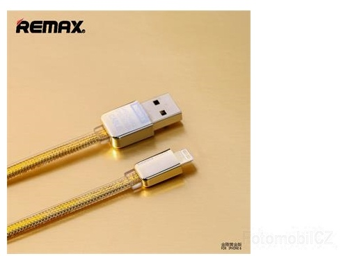 Remax Safe and Speed Datový Kabel GOLD zlatá barva pro iPhone 5 / 5S / 6 / 6 Plus